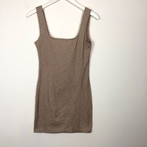 Motel Rocks beige ribbed bodycon mini tank dress